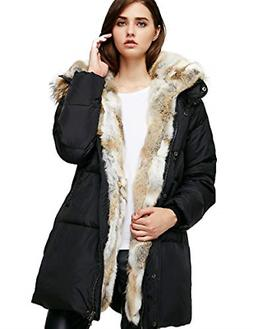 Escalier Women's Down Jacket Winter Long Parka Coat with Rac