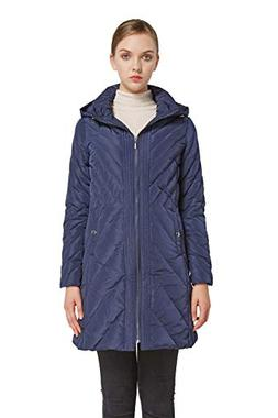 Orolay Women's Down Jacket Winter Removable Hooded Coat Navy