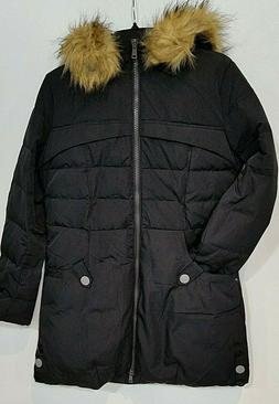 Orolay Women's Down Jacket with Faux Fur Trim Hood.  Black.
