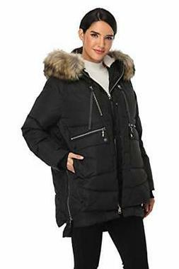 Emperor Goose Women's Down Jacket with Faux Fur Trim Hood Th
