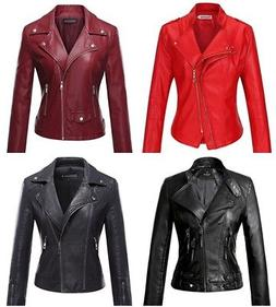 Tanming Women's Fashion Faux Leather Moto Biker Short Coat J