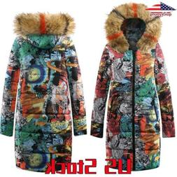 Women's Fluffy Hooded Boho Printed Winter Down Jacket Zipper