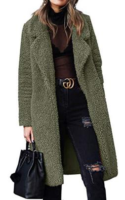 Angashion Women's Fuzzy Fleece Lapel Open Front Long Cardiga