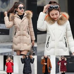 Women's Hooded Coat Winter Warm Solid Slim Parka Down Long J