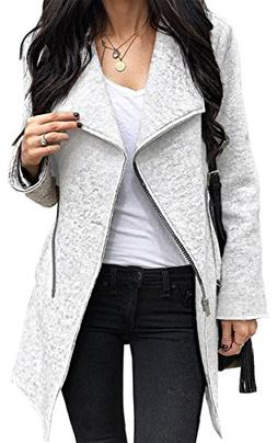 Angashion Women's Irregular Full-Zip Coat Lapel Outwear Casu