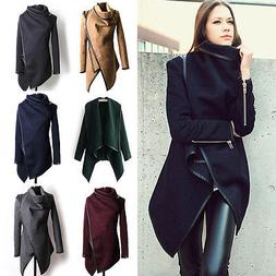 Women's Irregular Trench Coat Parka Cardigan Winter Warmer S