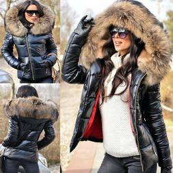 Women's Ladies Quilted Winter Coat Fur Collar Hooded Down Ja