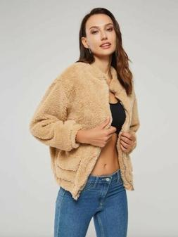 Women's Lady Winter Teddy Bear Fleece Fur Fluffy Zip Coat Ja