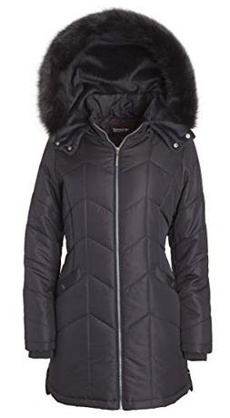 Women's Long Down Alternative Puffer Coat Detachable Plush L