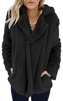 Angashion Women's Long Sleeve Lapel Faux Fur Button Oversize