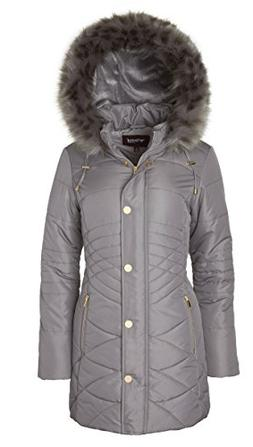 Sportoli Women's Longer Length Plush Lined Puffer Coat Zip-O