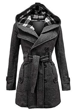 Aro Lora Women's Military Belted Fleece Button Coat Check Ho
