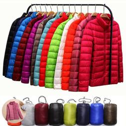 Women's Packable Down Coat Winter Jacket Collar Ultralight