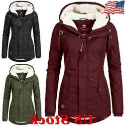Women's Hooded Parka Warm Casual Winter Long Sleeve Coat Zip