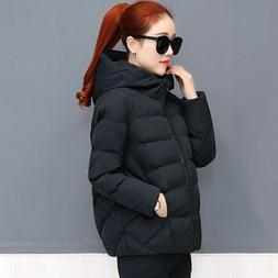 Women's Puffer Coat Jacket Hooded Padded Quilted Outerwear S