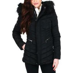 women s quilted faux fur trim winter