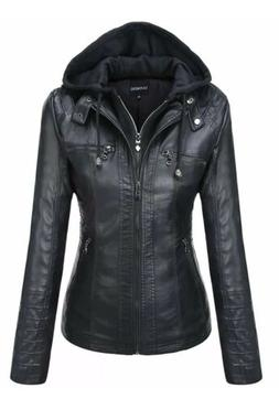 Tanming Women's Removable Hooded Faux Leather Jackets Size L
