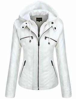 women s removable hooded faux leather jackets