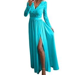 Harpi Women's Sexy V-Neck Long Sleeve Lace Gown Dress