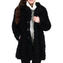 Urban Republic Women's Shaggy Faux Fur Warm Winter Teddy Coa