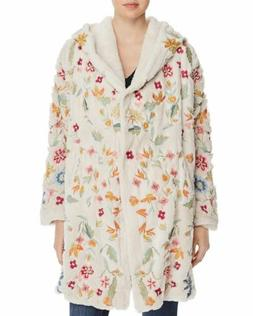 Johnny Was Women's Sona Faux Fur Ivory Coat with Floral Embr