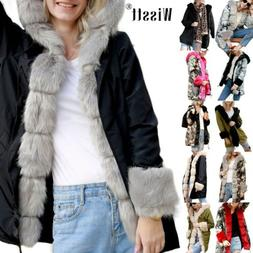 Women's Thick Winter Coats Hooded Parka Faux Fur Overcoat Lo