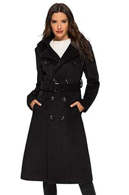 Escalier Women's Trench Coat Double Breasted Winter Wool Pea