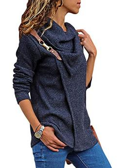 Women's Turtleneck Sweater Cowl Neck Chunky Knit Loose Butto