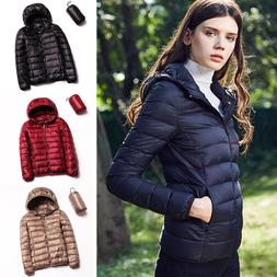 Women's Ultralight 90% Down Jacket Puffer Parka Hooded Porta
