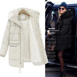 Women's Warm Cotton Down Thick Jacket Long Parka Fleece line