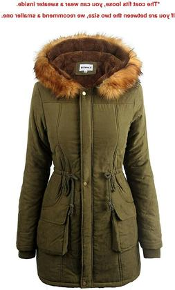 iLoveSIA Women's  Warm Hooded Parka with Faux Fur Trimmed Ho