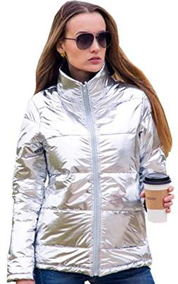 Angashion Women's Warm Winter Metallic Silver Zip Up Puffer