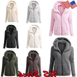 Women's Warm Winter Thicken Fleece Fur Coat Hooded Parka Ove