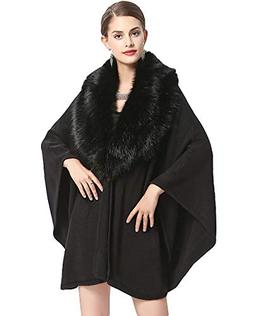 Women's Winter Cardigan Cape,Cloak Shawl Coat,Splicing with