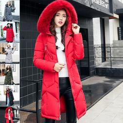 Women's Winter Coat Down Jacket Ladies Fur Hooded Long Puffe