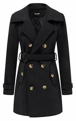 Wantdo Women's Winter Double Breasted Pea Coat with Belt 123