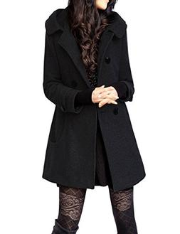 Tanming Women's Winter Double Breasted Wool Blend Long Pea C