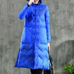 Women's Winter Embroidered Down Coat Jacket Long Warm Parkas
