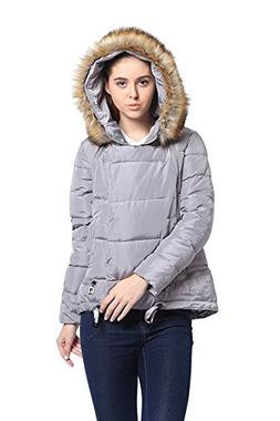 Mojessy Women's Winter Faux Fur Hoodie Coat Parka Down Candy