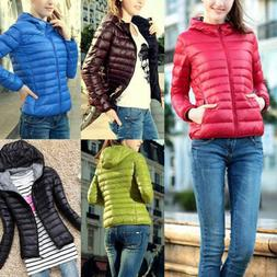 Women's Winter Hooded Warm Down Jacket Ladies Coat Hoodie Pu