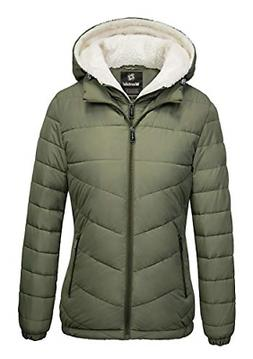Wantdo Women's Winter Jacket Hooded Windproof Puffer Coat Li