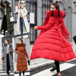 Women's Winter Long Down Cotton Parka Coat Warm Fur Collar H