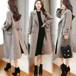 496a7c5e8c9 Editorial Pick Women s Winter New Wool Blend Plaid Long Double-breasted Loo