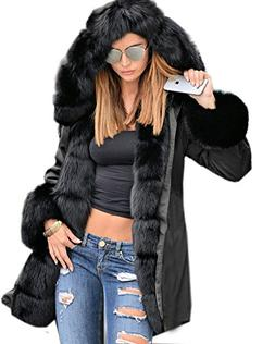 women s winter thicken faux fur hooded