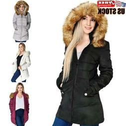 Women's Winter Warm Cotton Parka Ladies Fur Collar Hooded Co