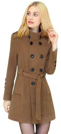 Women's Wool Blends Double Breasted Winter Trench Pea Coats