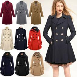 Women Slim Double Breasted Trench Coat Long Jacket Winter Wa