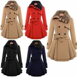 Women Thicken Fur Collared Winter Long Peacoat Coat Trench O