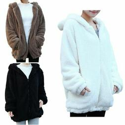 Women Warm Casual Hoodie Coat Fashion Winter Bear Ear Jacket