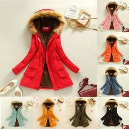 Women Warm Long Coat Fur Collar Hooded Jacket Slim Winter Pa